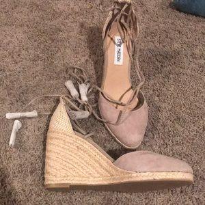 Never worn wedge wrap sandal